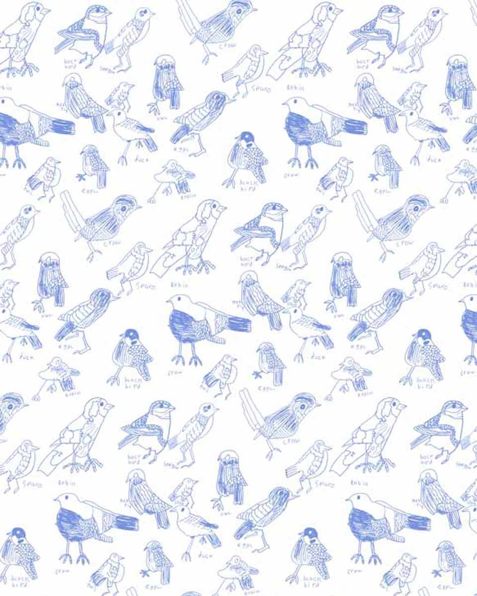 Tea towel blue birds