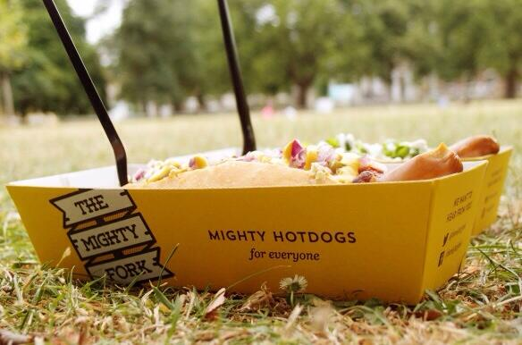 THE MIGHTY FORK hotdog in park